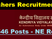 KVs Teacher Recruitment 2017 North Eastern Region - PGT Teachers, Assam Career