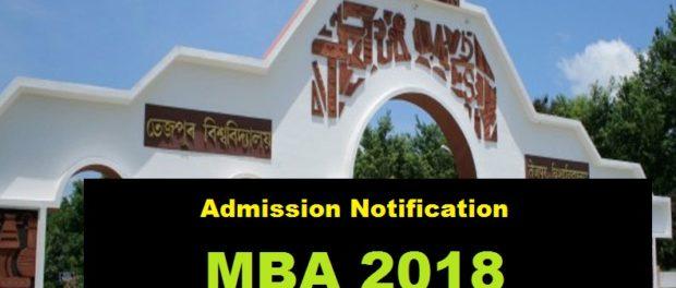 Tezpur University MBA Admission 2018 , application fee , assam career