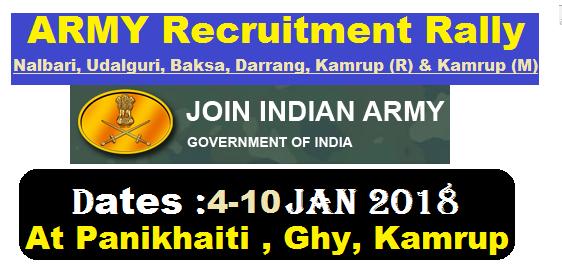 How to Apply ForIndian Army RecruitmentRally 2018 forNalbari, Udalguri, Baksa, Darrang, Kamrup (R) & Kamrup (M) panikhaiti , guwahati assam lower assam career