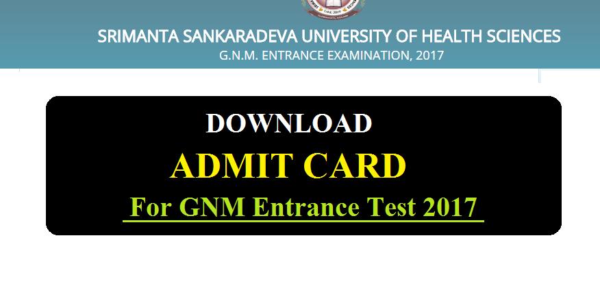 GNM Admit card dowload