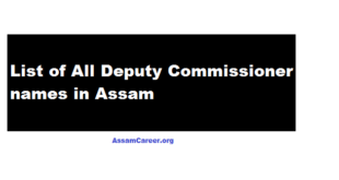 List of Deputy Commissioner [DC] from All Districts of Assam 2018 , DC list assam career
