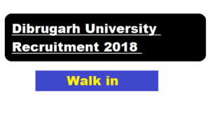 Dibrugarh University Recruitment 2018 | Assistant Professor in Philosophy - Assam Career