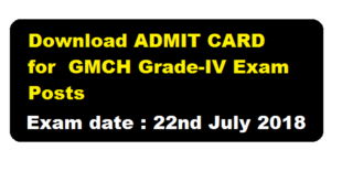 Admit Card Download For GMCH Grade-IV Posts (Exam is scheduled on 22nd July 2018) - Assam career