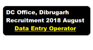 DC Office, Dibrugarh Recruitment 2018 August - Data Entry Operator Posts , assamcareer