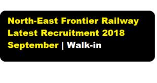 North-East Frontier Railway Latest Recruitment 2018 September | Walk-in for Medical Practitioner Posts - assam career job alerts