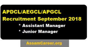 APDCL/AEGCL/APGCL Recruitment September 2018 - Assistant Manager & junior Manager Posts - assam career , sarkari sakori , job news assam