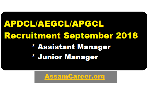 APDCL/AEGCL/APGCL Recruitment September 2018 - Assistant Manager & junior Manager Posts  - assam career , sarkari sakori , job news assam