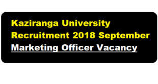Kaziranga University Recruitment 2018 September | Marketing Officer Post - Assam career
