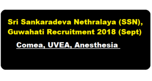 Sri Sankaradeva Nethralaya (SSN), Guwahati Recruitment 2018 (Sept) - Assam Career Jobs